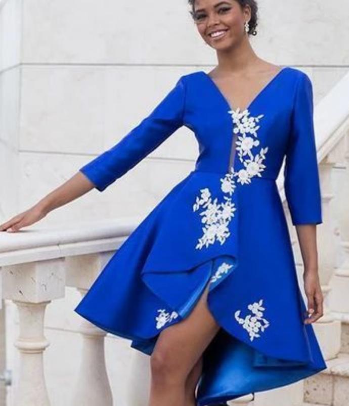 Homecoming Dresses A Line V Neck Satin With Applique Asymmetrical