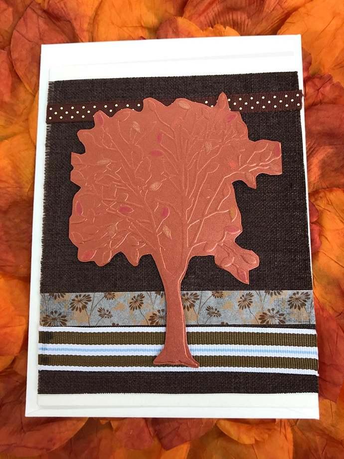 Metallic Copper Tree Thank You Card, Fall, Autumn, Thanksgiving, Gratitude,