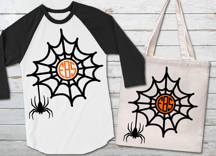 Spider Web Monogram svg, Spider Web Clip Art, Halloween, svg, dxf, png, Cut