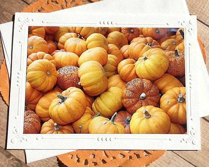 Glitter Pumpkins Fine Art Photography Card, Fall, Autumn, Orange, Sparkle,