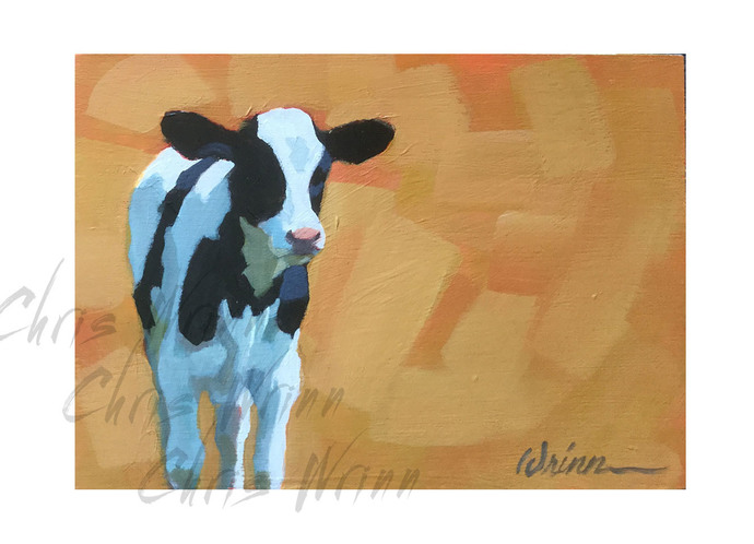 Cow Painting on 5x7 inches on Boxed Panel, Farm Animal Art, Farmhouse Decor