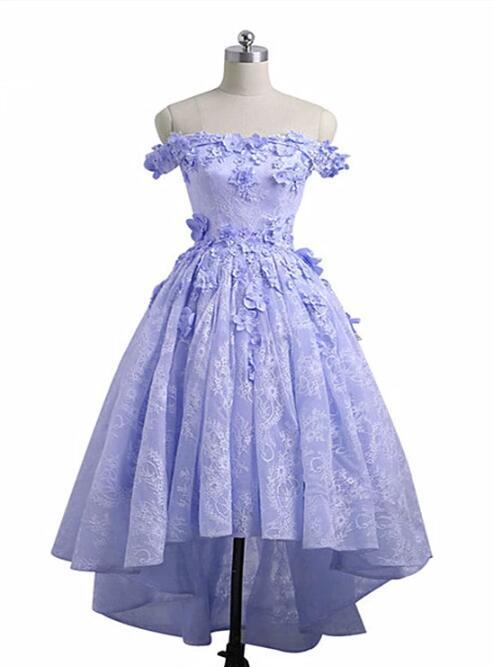Beautiful Lavender Lace High Low Party Dress, Homecoming Dress