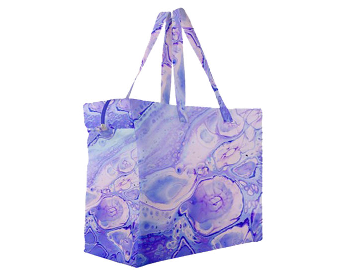 "Canvas Travel Bag A6 ""Blue Marbling"""