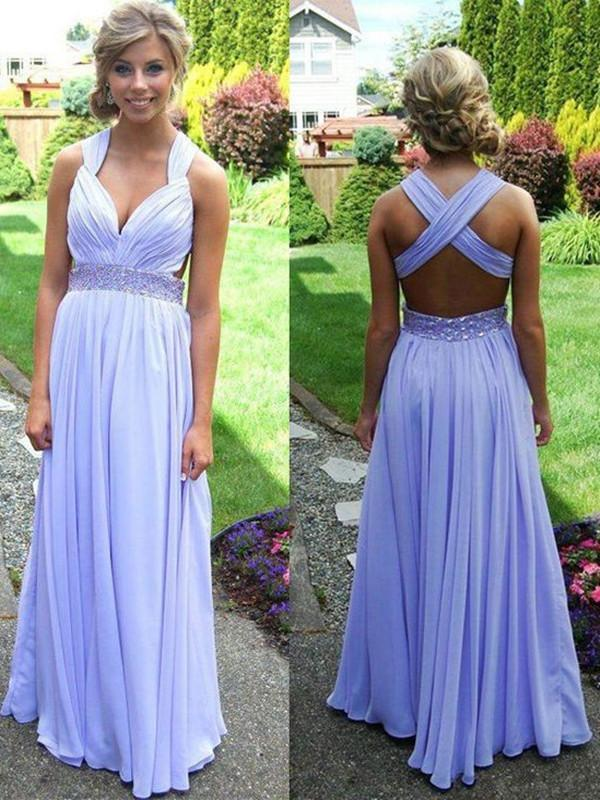 Light Purple A-line Straps Cross-back Beaded Long Prom Dress, Graduation Dress,