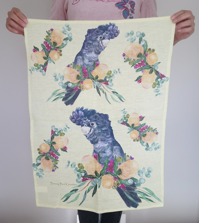 Black Cockatoo and Banksia Tea Towel (Limited Edition Large)