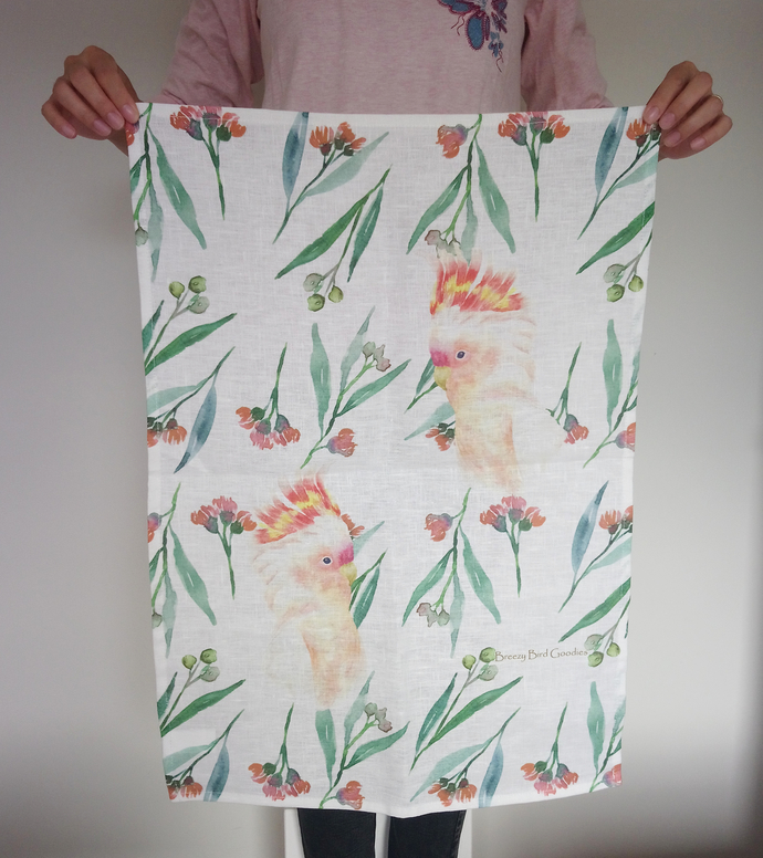 The Major Mitchell's Cockatoo & Gum Flowers Tea Towel (Limited Edition Large)