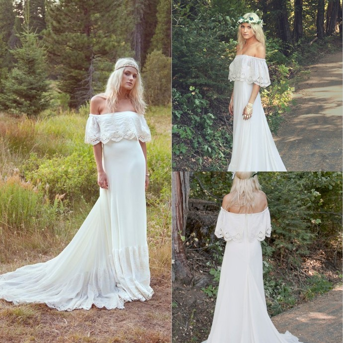 Boho Wedding Dresess Off Shoulder Chapel Train Lace Backless Forest Short Sleeve