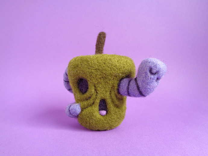 Rotten Apple and Worm, halloween inspired Art Toy, needle felted green apple and