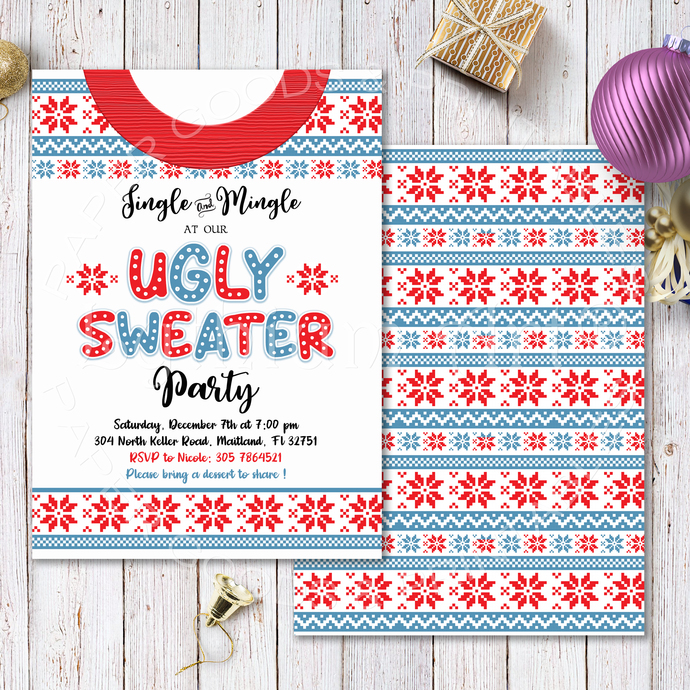 Festive Ugly Sweater Christmas Party Invitation, Printable Files, Ugly Sweater