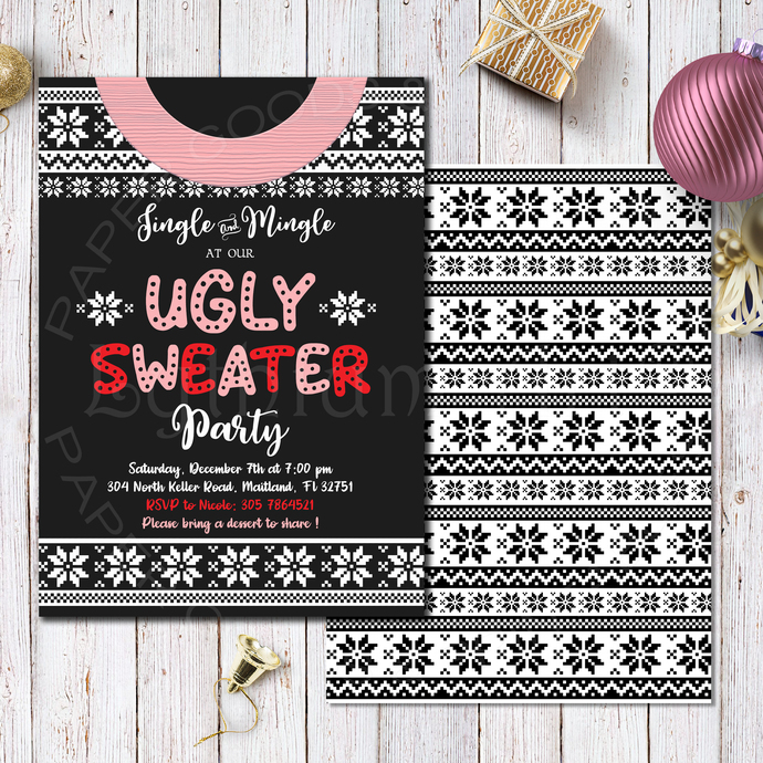 Ugly Sweater Christmas Invitation, Printable Files, Tacky Sweater Party,