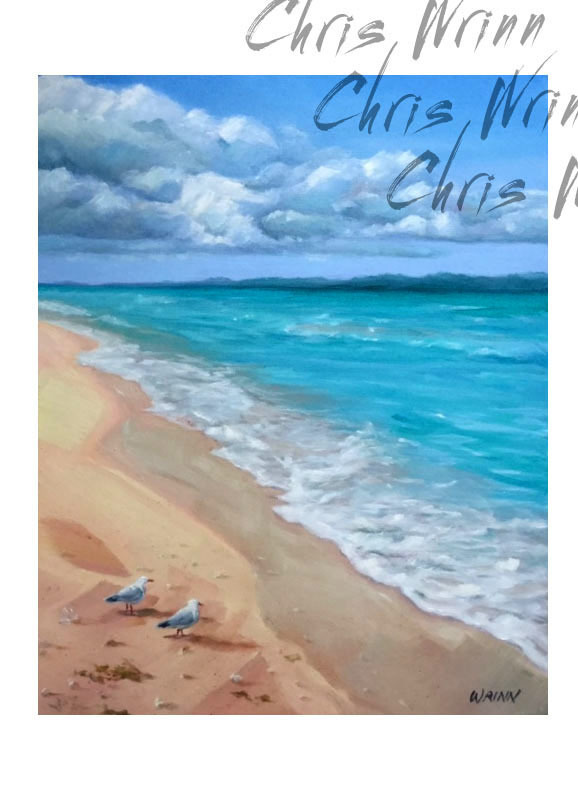 Seascape Painting, 'The Boys', Waves and Seagulls in a Serene Nautical Scene,
