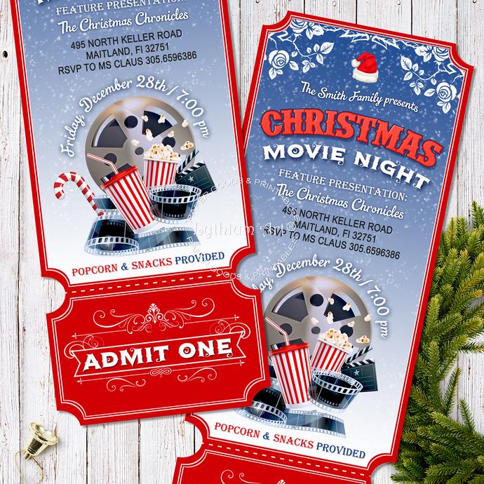 Christmas Movie Night Invitation, Printable Ticket, Movie Night Ticket, Ticket