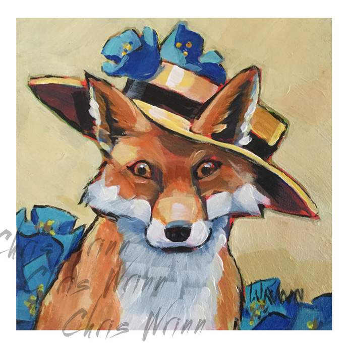 Fox Painting, Whimsical Fox Art for Kids and Adults 5x5 inches, Animal Art,
