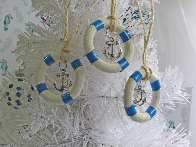 Nautical Life Ring Buoy. Classic White Decorative Life Ring. Life Ring Ornament