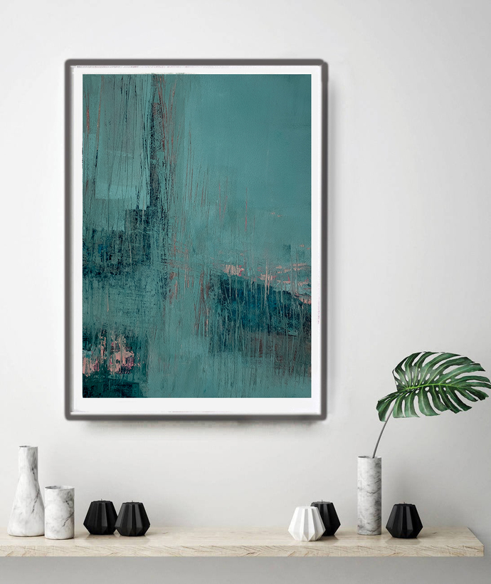 contemporary art, turquoise abstract, digital image, abstract , rose and teal ,