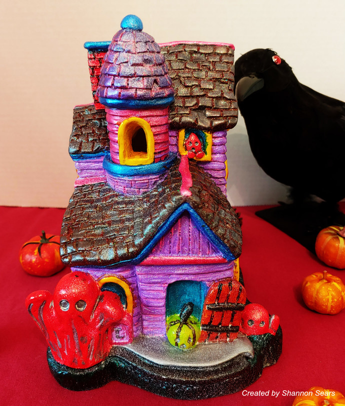 Haunted Ghost House  Signed by the Artist Halloween Decor One of a Kind