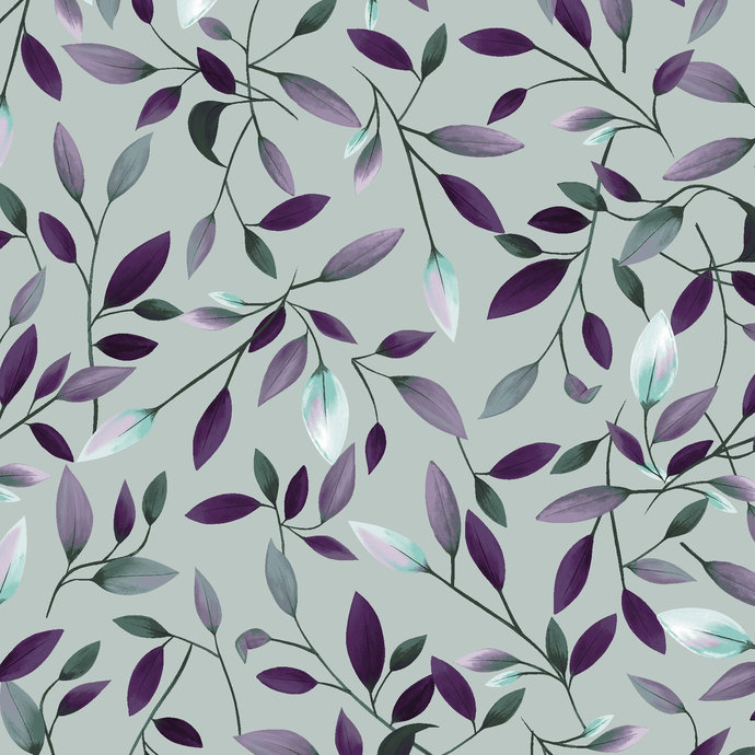 Amethyst Garden Leaves in Light Teal by Clothworks Fabrics - You choose the cut