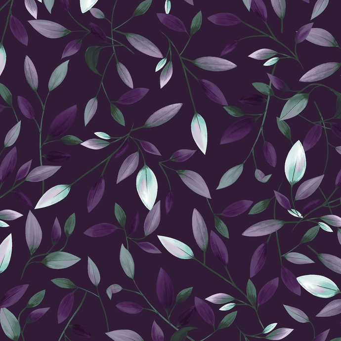 Amethyst Garden Leaves in  Purple by Clothworks Fabrics - You choose the cut