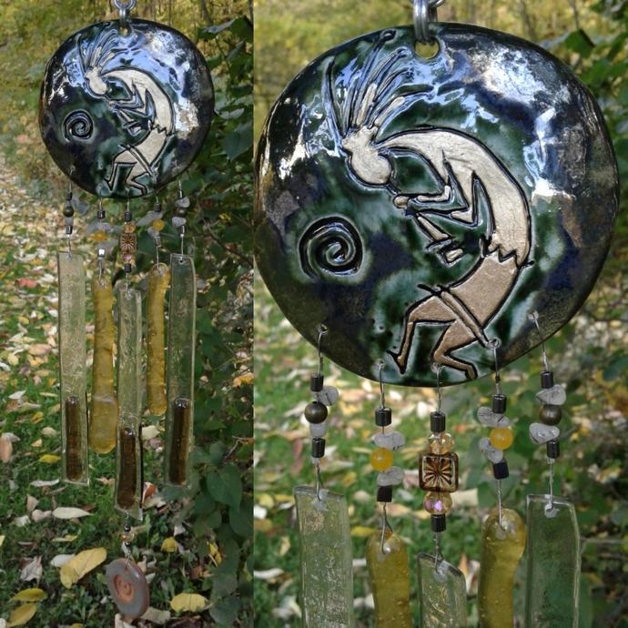 Kokopelli Glass Wind Chime Pewter Gold Pottery Chime Hopi Petroglyph Garden