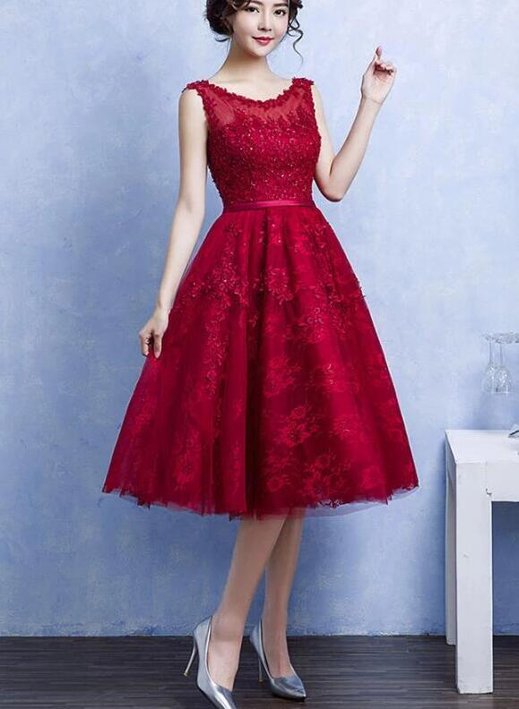 Beautiful Lace Tea Length Wine Red Homecoming Dress, Party Dress 2020
