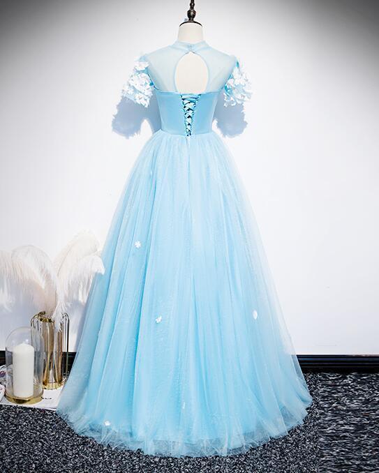 Sweet Light Blue Tulle Long Party Dress 2020, Blue Prom Dress