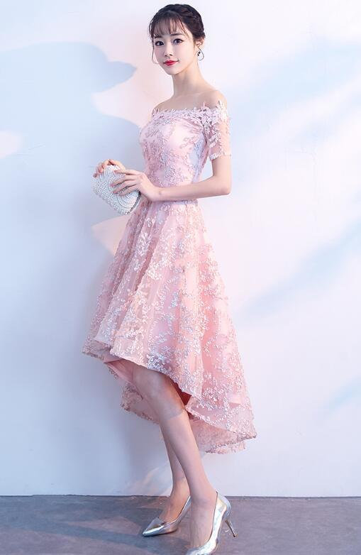 New Lace High Low Pink Party Dress, Off Shoulder Prom Dress