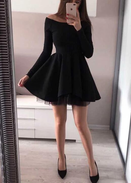 Fashionable Long Sleeve Homecoming Dresses Off the Shoulder Short Prom Dress