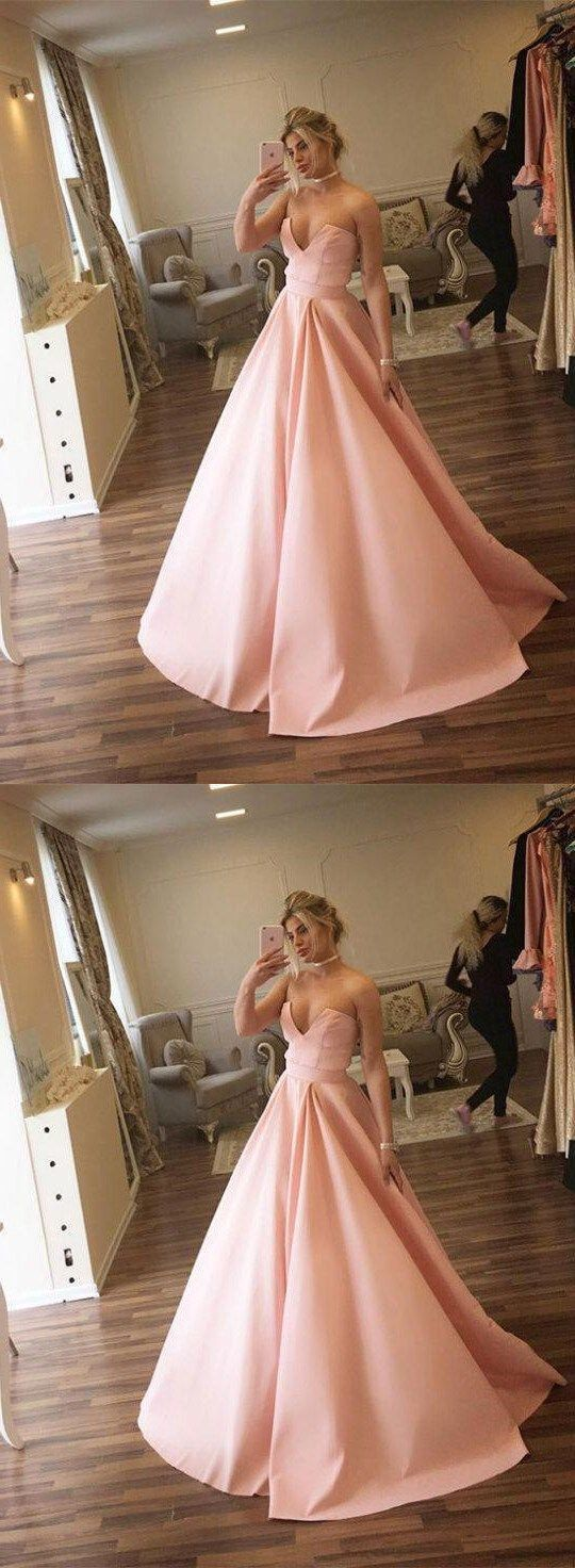 Unique Ball Gown Strapless Pink Long Prom Dress