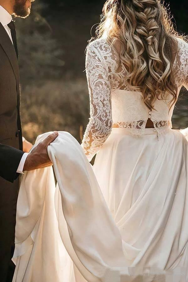 Chic Long Sleeve Two Pieces Long Wedding Dress, Lace Bodice Top Wedding Dress,