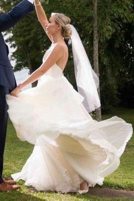 Simple V-neck Wedding Dress Wedding Dresses, Backless Long Bridal Dress Wedding