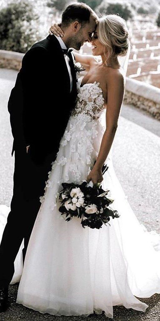 Fabulous Tulle A-line Wedding Dress, Empire Waist with Appliques Sweep Train