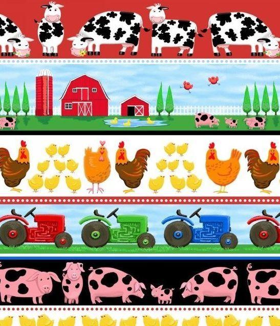 Yardage Cotton Quilt Fabric Farm Life Farm Stripe Pigs Cows Barn Tractor
