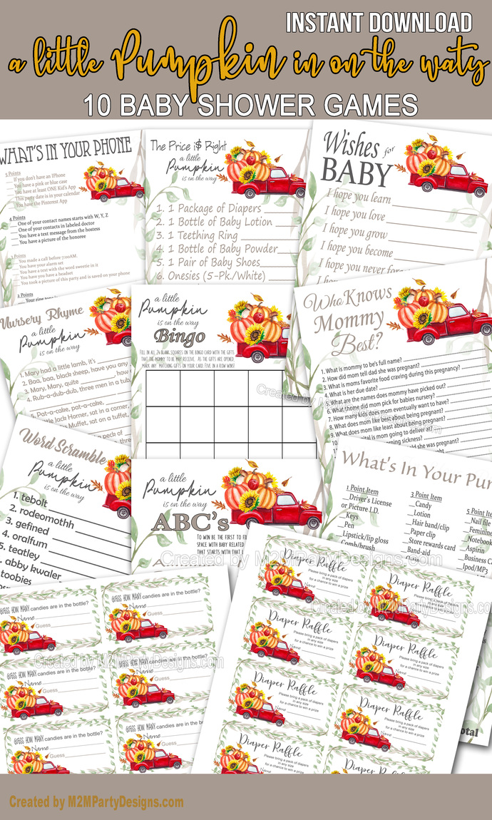 A Little Pumpkin Red Truck Baby Shower Game Cards Bundle Set of 10 Shower Games,