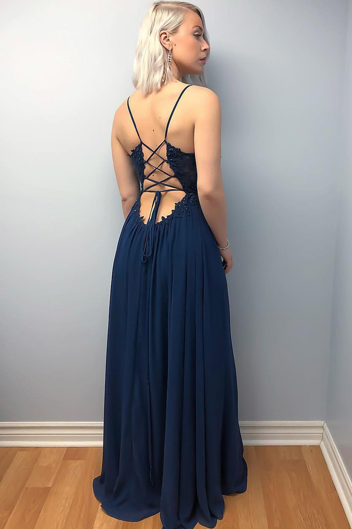 New Arrival Navy Blue Chiffon Lace Long Prom Dresses Backless Women Party Gowns