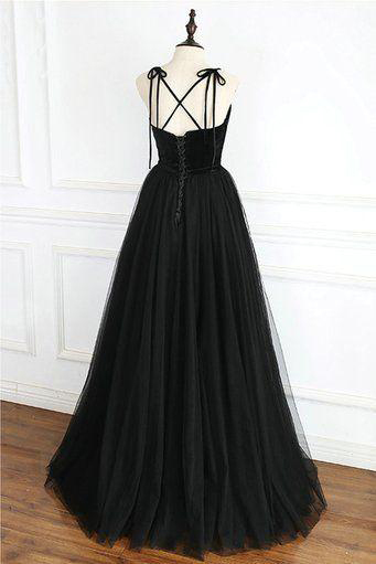 Cheap Black Tulle A Line Long Evening Dress Custom Made Women Pageant Gowns