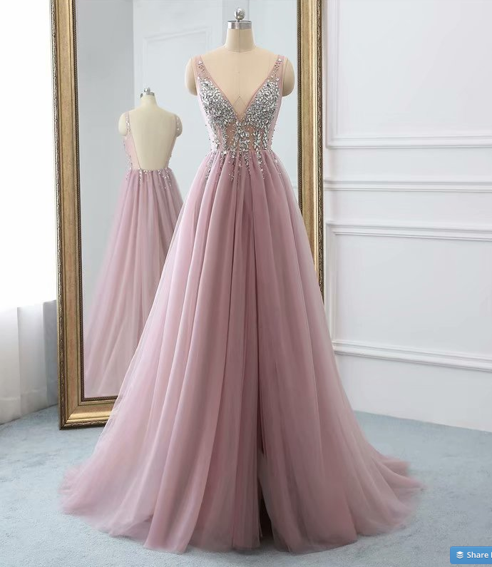 Floor Length Pink Tulle Prom Dress Beaded V Neck Long Backless Women Party Dress