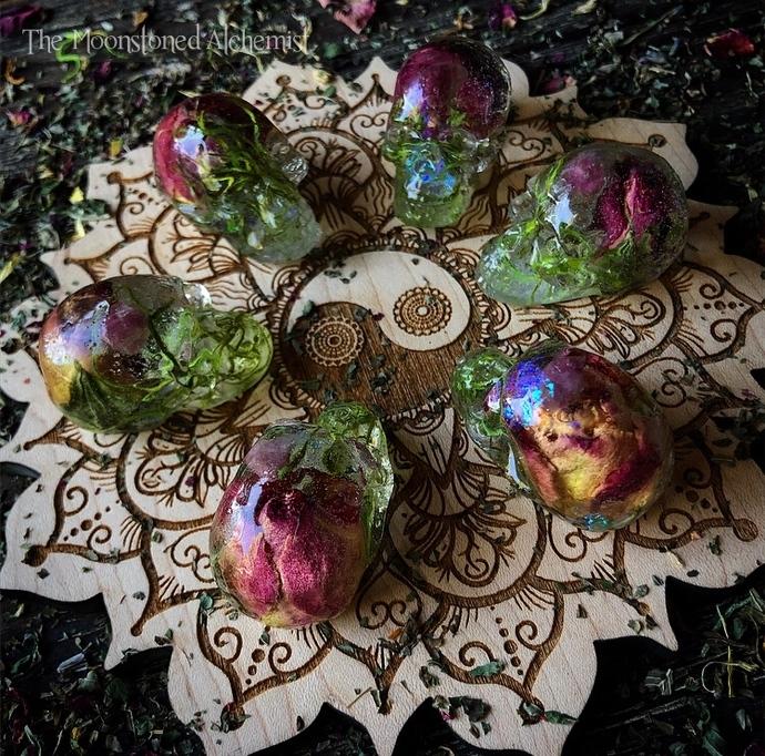 Mini Celestial Skullies infused with Fire Rosebuds & Watermelon Tourmaline