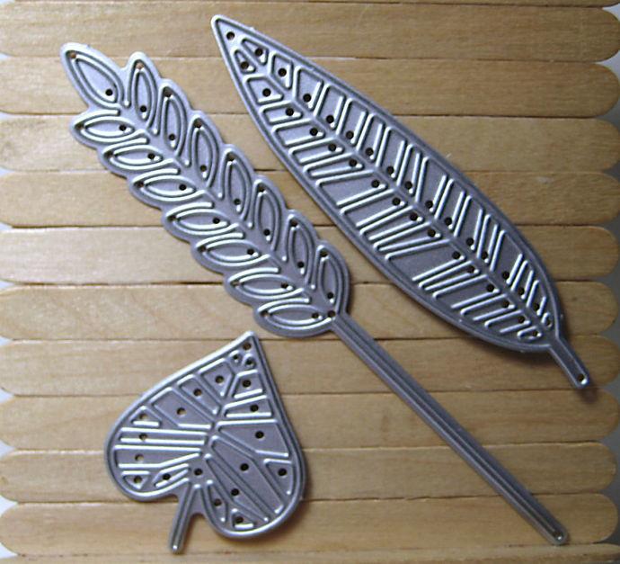 3pc Stylized Leaf Leaves Cutting Die Set