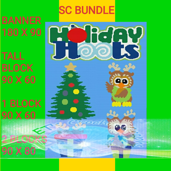 Holiday Hoots - 5 Pattern bundle includes Graph and Written Color Charts