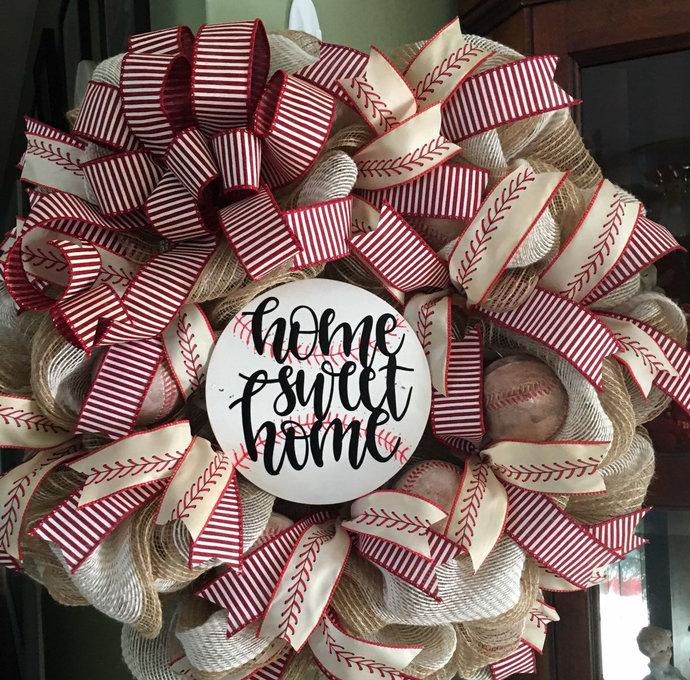 Copy of Baseball Home Sweet Home Wreath