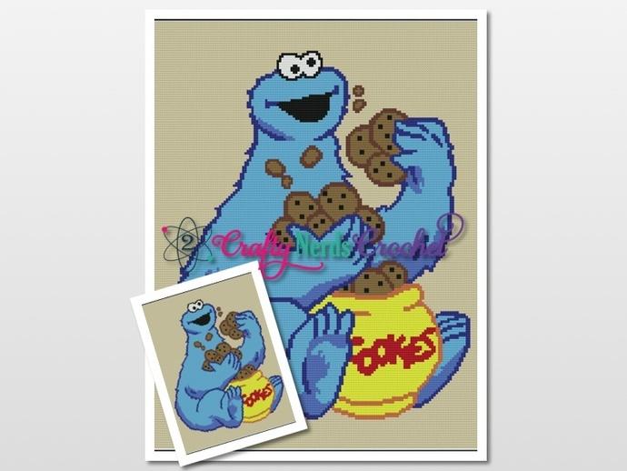 Cookie Monster Pattern Graph With Single Crochet Written