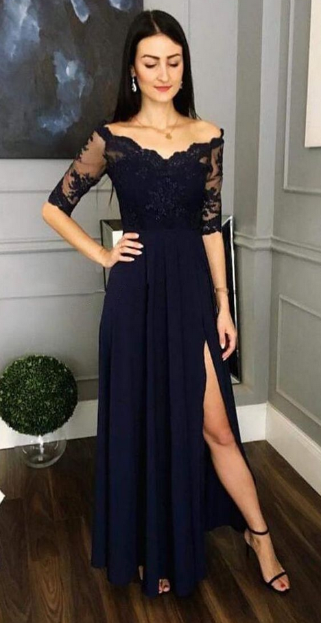 Charming Half Sleeve Appliques Prom Dress, Sexy Navy Floor Length Party Dress,