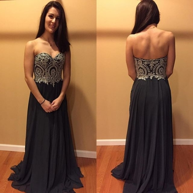 Custom Made Black Chiffon Long Prom Dresses With Lace Cheap Formal Evening Party