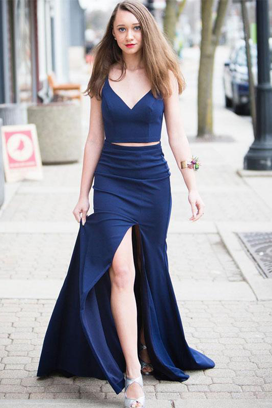 Sexy V-Neck Mermaid Prom Dress Dark Blue Long Prom Party Gowns Custom Made