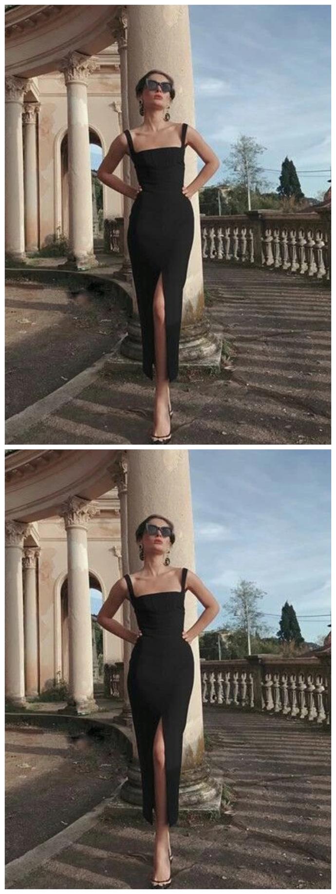 black Prom Dress, Long Prom Dress Simple Prom Dress