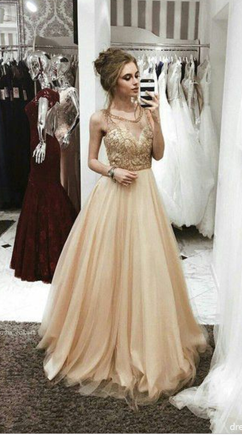 Gorgeous A Line Scoop Open Back Champagne lace Long Prom Dresses with Beaded,