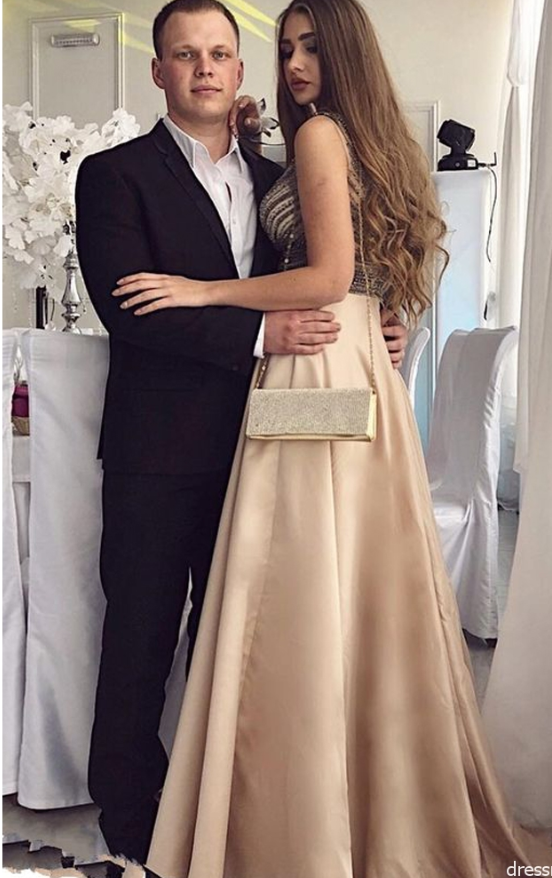 Charming A Line V Neck Open Back Champagne Long Prom Dresses with Beading,