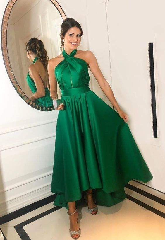 Green Prom Dress,Satin Prom Gown, Halter Prom Dress, High/Low Prom Gown 9975