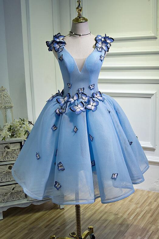 Light Blue Short Sweetheart Party Dress, Cute Prom Dress 2020