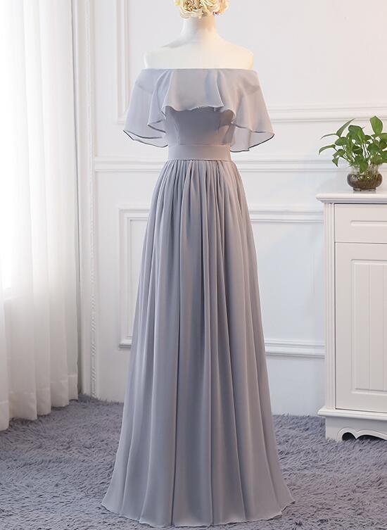 Beautiful Grey A-line Party Dress 2020, Off Shoulder Bridesmaid Dress